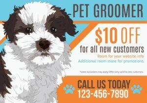 pet groomer, $10 off, custom post card