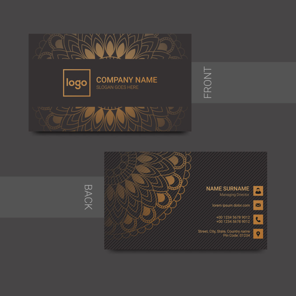 example of custom business card, front and back