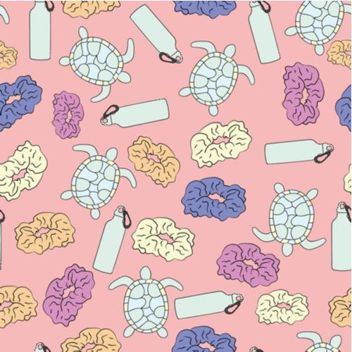 custom stickers, water bottle, turtles, scrunchies