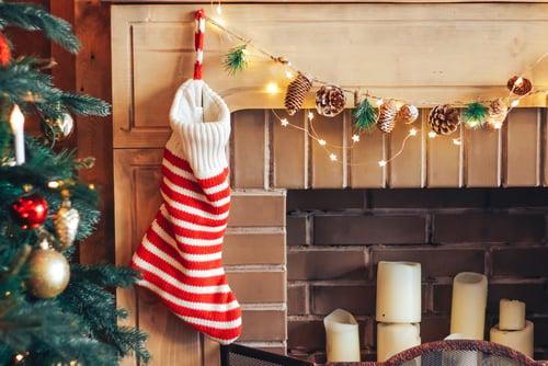 christmas stocking on fireplace mantel