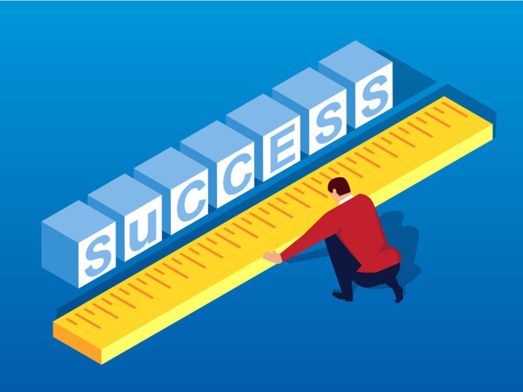 illustration of SUCCESS and man with ruler