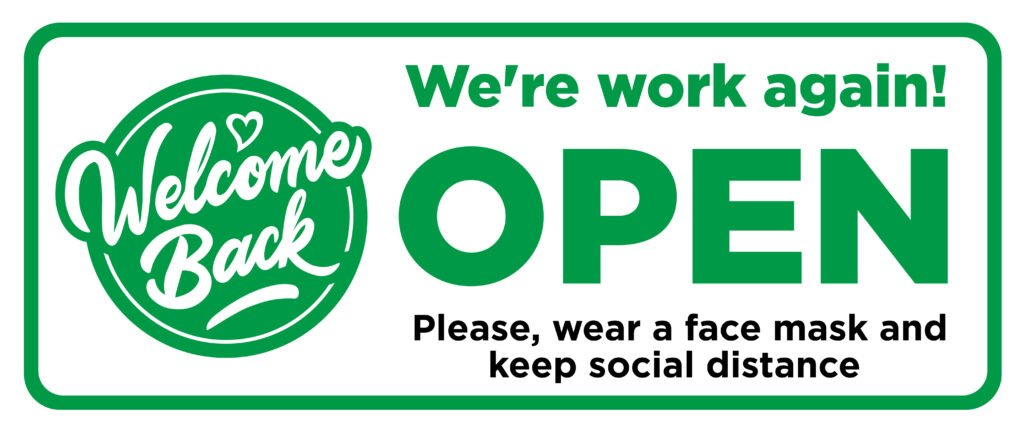 we are open, custom sticker, social distancing