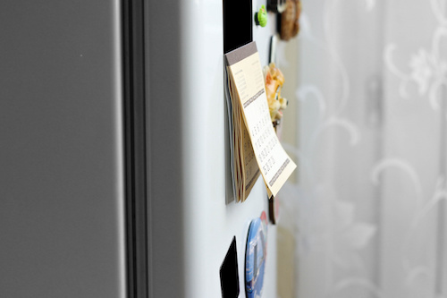 a refrigerator with custom magnets